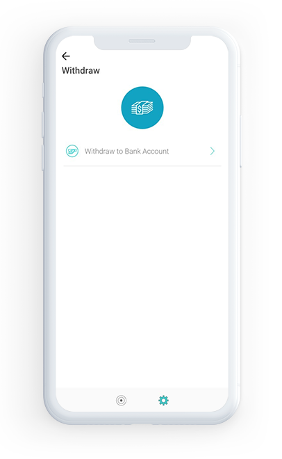 Withdraw to Bank account or Card
