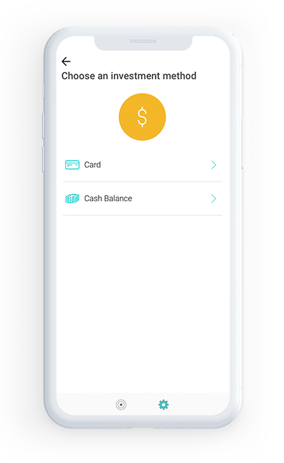 Invest using Cards and Bank transfer